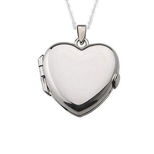 Alylosilver Collar Colgante Guardapelo de Plata De Ley para Mujer de Corazón  - Incluye una Cadena de Plata de 45 Centimetros y un Estuche para Regalo   ... b1aa91fc151