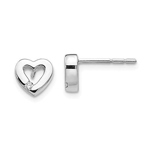 925 Sterling Silver .04ct Diamond Heart Post Stud Earrings Love Fine Jewelry Gifts For Women For Her