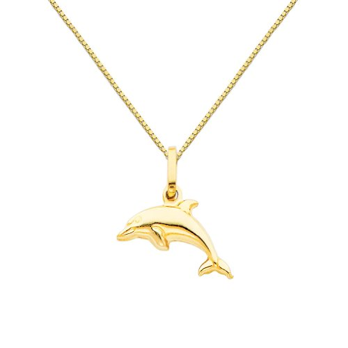 14k Yellow Gold Dolphin Charm Pendant with 0.65mm Box Link Chain Necklace - 20