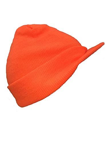 Solid High Visibility Neon Blaze Orange Hunter Military Knit Beanie Stocking Ski Jeep Cap Winter Billed Cadet Hat