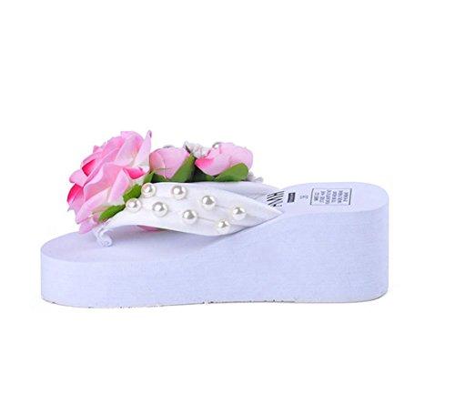 Man Made Pearl (AVENBER Women's Bohemian Floral Wedge Thong Sandals Man-Made Pearl Platform Beach Flip Flops Fashion Wear)