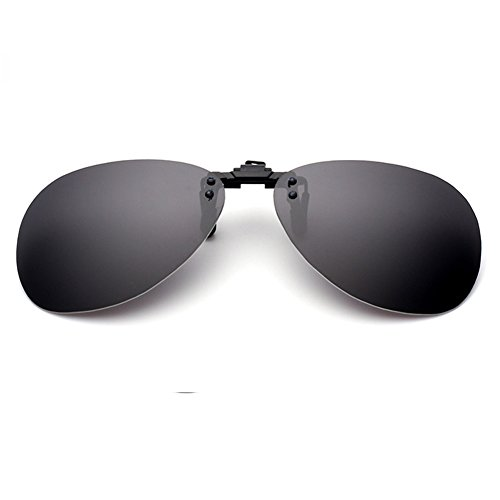 LOMEDO Aviator Polarized ClipOn Sunglasses Flash/Mirrored Grey - Spectacles 80s