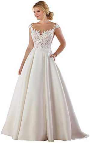Women's Cap Sleeves Satin A Line Wedding Dresses with Pockets Lace Bridal Gown