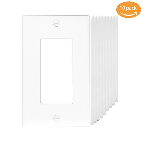 1-gang decora Wall Plates, gfci device wallplate Electrical Outlet Covers Standard Size, Receptacle Faceplates MICMI J59B (1-Gang Decorator, White 10pack)