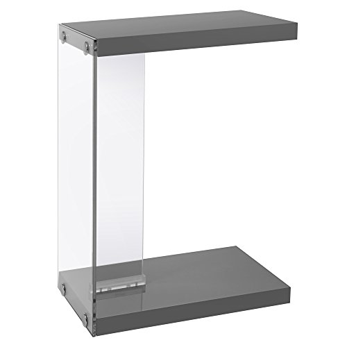 Monarch Specialties I 3216 Glossy Grey with Tempered Glass Accent Table, 19
