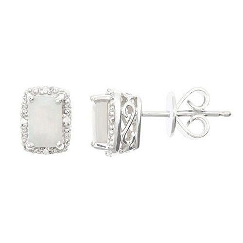 925 Sterling Silver Emerald Cut Opal & Diamond Halo Stud Earrings 6mm x 4mm by TheJewelryMaster