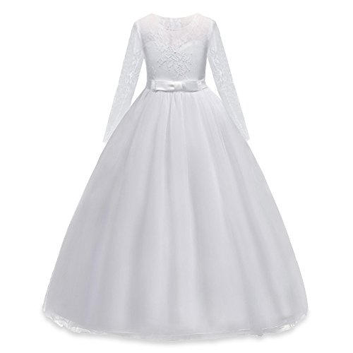 HUANQIUE Girls Lace Pageant Party Dress Wedding Flower
