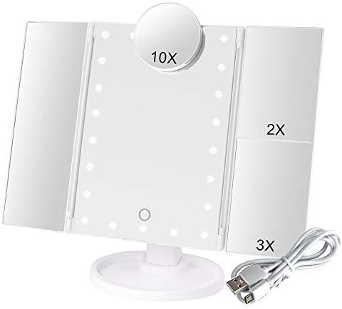 22 LEDライト1X / 2X / 3X / 10倍拡大鏡3折りたたみ柔軟なバニティミラーコンパクトミラー付きタッチスクリーンメイクアップミラー