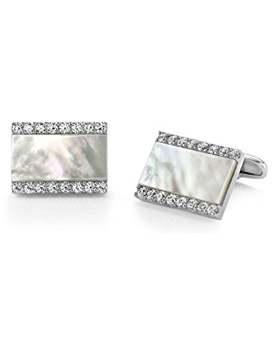 - Sterling Silver Mother of Pearl Crystal Cufflinks