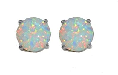 14Kt White Gold Simulated Opal 4mm Round Stud Earrings XL8kRPxfFe