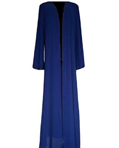 Coolred-femmes Caftans Cardigan Casual Islamic Robe Maxi Musulman Solide De Couleur Bleu Abaya