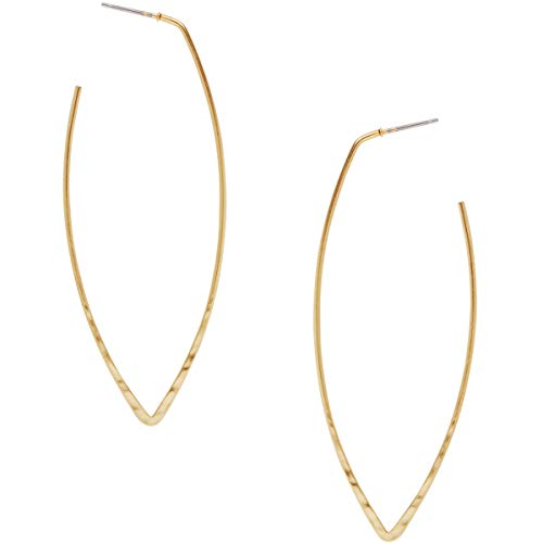 Humble Chic Big Hoop Earrings - Textured Long Open Leaf Statement Loops with Hypoallergenic Stainless Steel Post, Marquise 18K Yellow, Gold-Electroplated, Geometric Shape