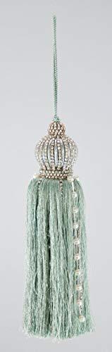 Katherine's Collection Rhinestone Studded Light Aqua Crown Christmas Tassel Ornament