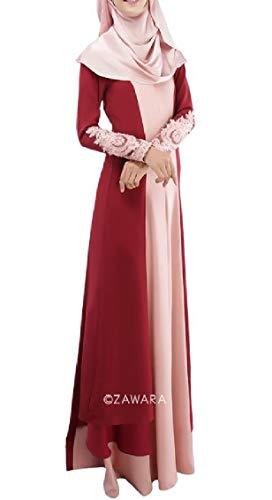 Jaycargogo Femmes Coutures Longues Robes Soirée Équipée Fête Musulmane Vin Rouge