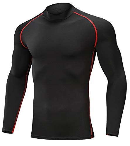 SILKWORLD Men's 3 Pack Compression Shirt Dry Fit Long-Sleeved Sports Baselayer (SW82_1 Piece: Black(Red Stripe), XX-Large (Fit Chest 38.5''-42'')) by SILKWORLD (Image #1)