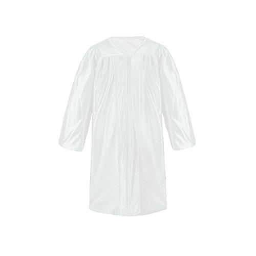Leishungao Unisex Kindergarten Child's Choir Robes Only Shiny Finish, White Height 48