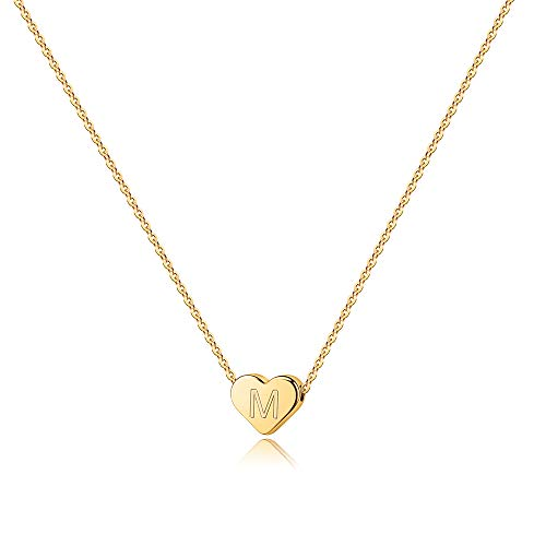 Turandoss Tiny Initial M Necklace for Women - 14K Gold Filled Heart Initial Necklaces for Women, Tiny Initial Necklace for Girls Kids Child, Heart Initial Necklace Best Gifts for Women Girls