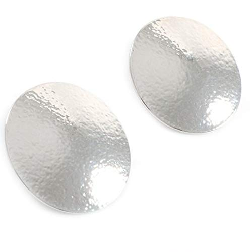 Large Oversize Big Clip on Earrings Textured Round Disc Round Rhodium Plated Women ()