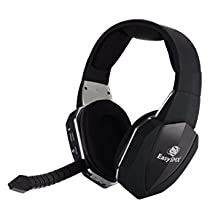 EasySMX 2.4G Optical Wireless Xbox One PS4 PS3 Xbox 360 PC Laptop Tablets Chat Skype MAC Gaming Headset 2 Detachable Mic (A Microsoft Adapter is Needed When Used to Xbox) Black