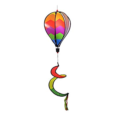 WorldaWhirl Hot Air Balloon Wind Spinner, 6 Colored PVC Panels Fiberglass Reinforced with Curled Tail and Swivels: Garden & Outdoor