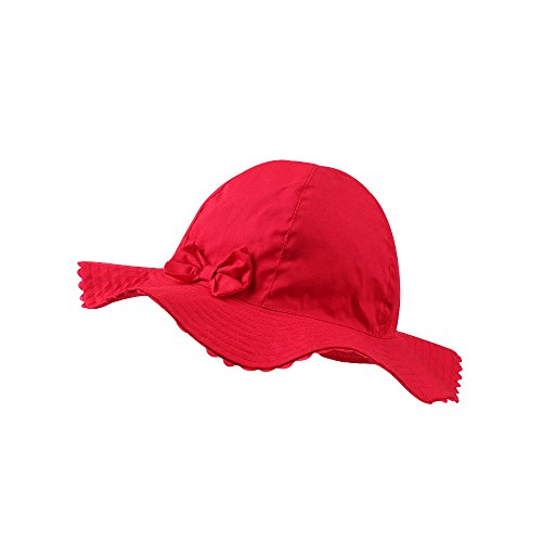 - JANGANNSA Baby Girls Sun Hat Infant Uv Protective Cap Kids Wide Wavy Brim Bucket Hat Spring Summer (Red)
