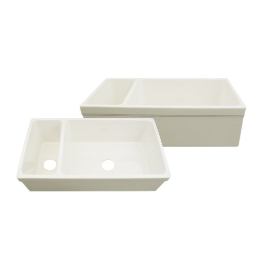 Whitehaus WHQDB542 36-Inch Large Quatro Alcove Reversible Bowl and Half Fireclay Sink with Decorative 2 1/2-Inch Lip on Both Sides, Biscuit