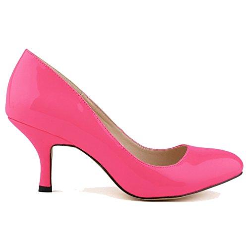 Chaussures Bouche Verni Haut Xianshu Cuir Femme Talon Rose Pompes Bout En À À Rond qtt0On1