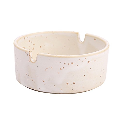 WaaHome Small White Ashtray Round Ceramic Ashtrays for Cigarettes, Indoor and Outdoor,Diameter 3.6
