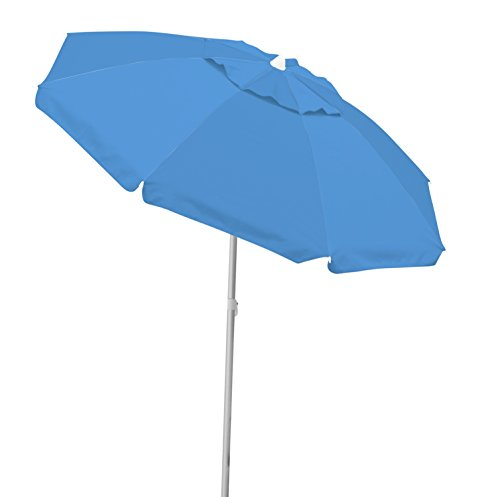 Caribbean Joe tilting beach umbrella double canopy windproof design with UV protection, Blue, (6.5' Polyester Beach Umbrella)