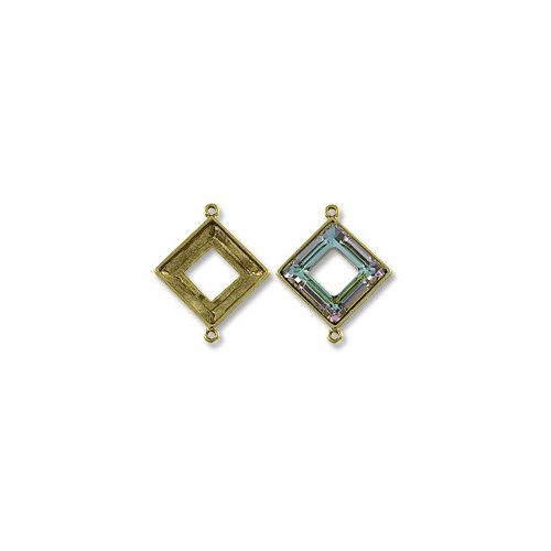 - Square Ring Setting 2-Loop 20mm Pewter Antique Gold Plated (1-Pc)