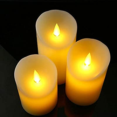"""Flameless Battery Candles With Remote Timer Set 4"""" 5"""" 6"""" Flickering Dancing Flame White Led Pillar Candles by Letetop (Ivory)"""