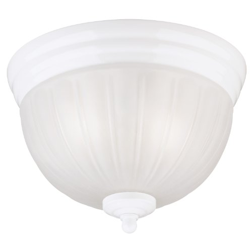 Image of Westinghouse Lighting 6730800 Two-Light Flush-Mount Interior Ceiling Fixture, White Finish with White Glass