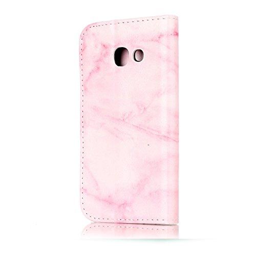 Funda Galaxy A3 2017(A320),SainCat Funda de cuero sintético tipo billetera con de Suave PU Carcasa Con Tapa y Cartera,Elegante Estuche Caja,Pintado en relieve árbol Cuero de la PU Leather Cubierta Ple Mármol rosa