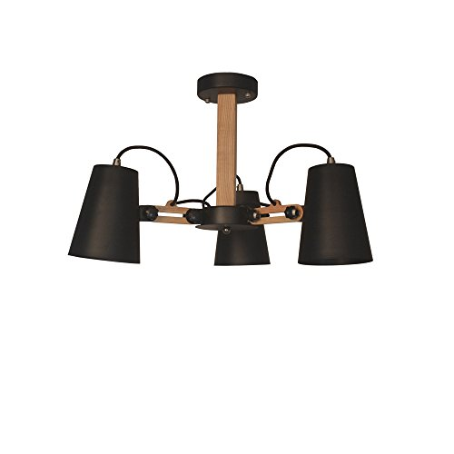 Rubber Mount Swing Arm (Starthi 3-Light Adjustable Track Light, Rubber Wood Ceiling Spotlight Pendant Lamp with Swing Arms and Adjustable Shades)