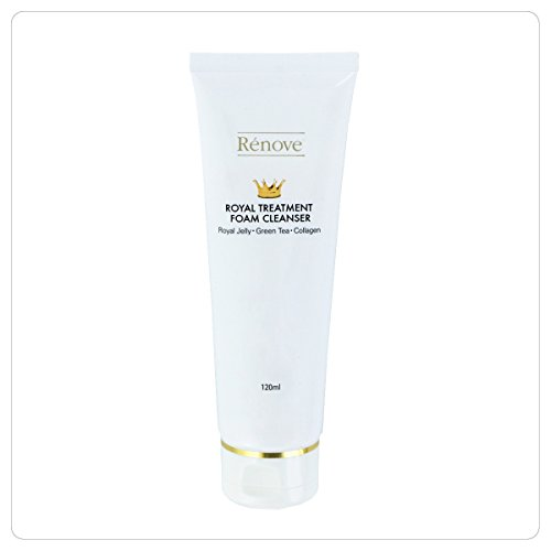 Renove Royal Treatment Foam Cleanser, Royal jelly, Green tea, & Collagen 120ml