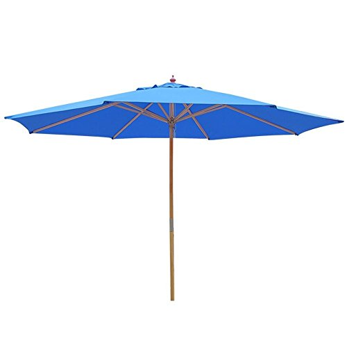 9- Feet Wood Pulley Control Cafe Umbrella Blue Patio Beach Market Garden Outdoor