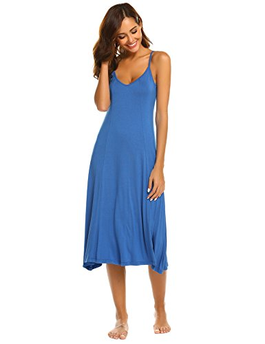 Hotouch Womens V Neck Fitted A Line Midi Cami Spaghetti Strap Sexy Dress Royal Blue ()