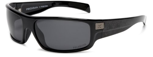 PolarOne PX-3008 (C1) Polarized Wrap Sunglasses,Shiny Black Frame/Grey Lens,one - Sunglasses Px