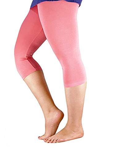 Basic Pink Leggings - Century Star Women's Plus Size Elastic Waist Cotton Basic Solid Capri Leggings Pink US 3X Plus(Tag 6XL)