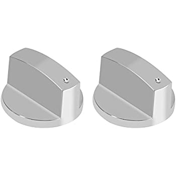 Yosoo 2Pcs Gas Stove Knobs Kitchen Universal Silver Metal Control Switch Knobs for Gas Cooker Oven Stove 8MM