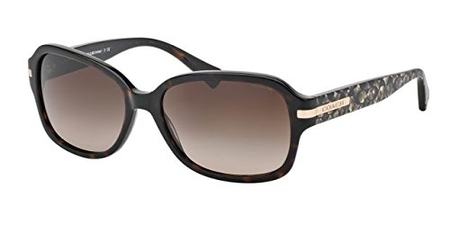 Coach HC8105 L082 Amber Sunglasses 522713 Dk Tortoise/Beige Ocelot Sig C Dark Brown Gradient 58 16 - Ocelot Sunglasses