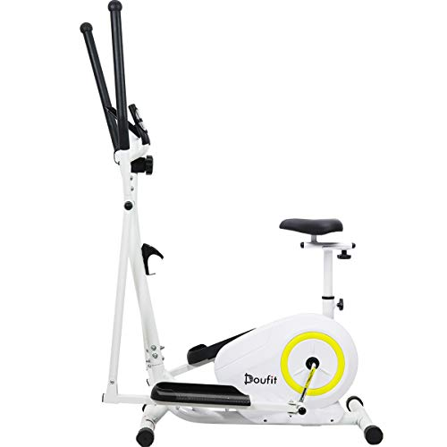 Doufit Elliptical Machine with Seat, EM-02 Portable Elliptical Bike Exercise Trainer for Aerobic Workout, Cardio Fitness Equipment for Home Use with LCD Monitor and Magnetic Resistance