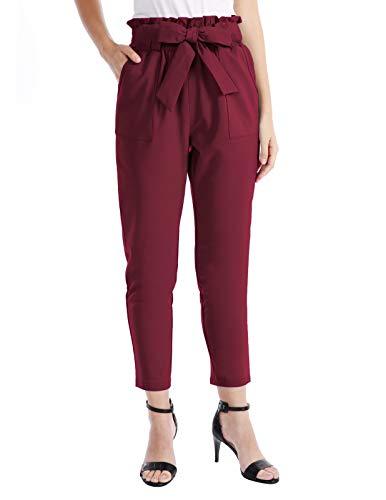 (CHICIRIS Lightweight Casual Crop Baggy Cut Elastic Waist Pleated Pants Wine Red Size XL)