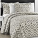 Prewashed Durable Comfy Bedding Chevron Quilted Gray and Off White 3-piece Bedspread Coverlet
