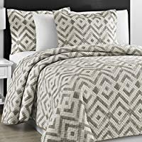 Prewashed Durable Comfy Bedding Chevron Quilted Gray and Off White 3-piece Bedspread Coverlet Set (King/Cali King)