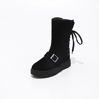 US7 CN38 UK5 For 5 Shoes Career Leatherette Boots Booties Wedge Round EU38 Casual Boots amp;Amp; 5 Ankle Spring Up RTRY Winter Lace Fashion Toe Office Women'S Heel Boots BT4ABwpqW