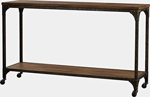 Wood Console Table with Shelf - Console Table with Removable Wheels - Natural