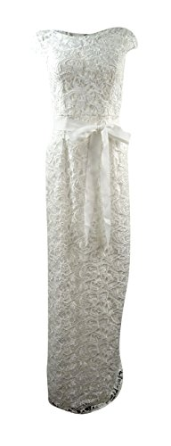 Adrianna Papell Cap-Sleeve Illusion Lace Gown (4, (Ivory Lace Gown)