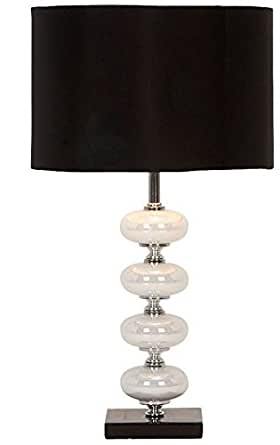 Deco 79 40023 Black and Pearl Metal Glass Table Lamp