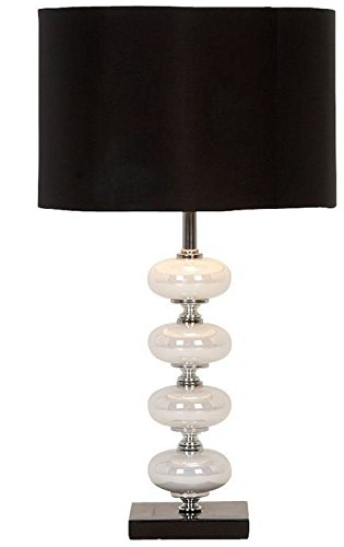 Deco 79 40023 Black and Pearl Metal Glass Table - Glass Shade Deco